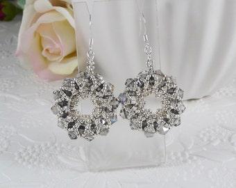 Woven Hoop Earrings with Gunmetal Swarovski Crystals