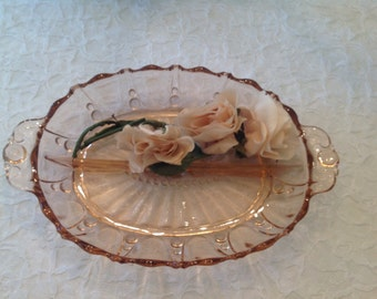Pretty Pink Depression Glass Divided  Tray Relish Dish  Romantic Living