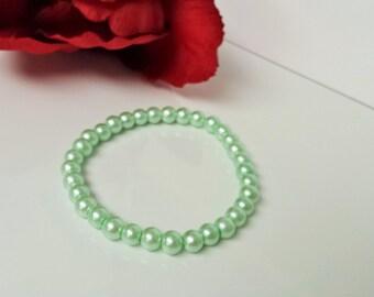Mint Green 6mm Glass Pearl Bracelet for Bridesmaid, Flower Girl or Prom