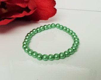 Basic Green 6mm Glass Pearl Bracelet for Bridesmaid, Flower Girl or Prom