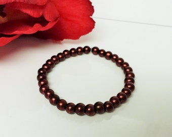 Brown 6mm Glass Pearl Bracelet for Bridesmaid, Flower Girl or Prom