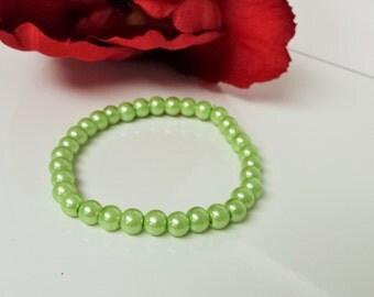 Celery Green 6mm Glass Pearl Bracelet for Bridesmaid, Flower Girl or Prom