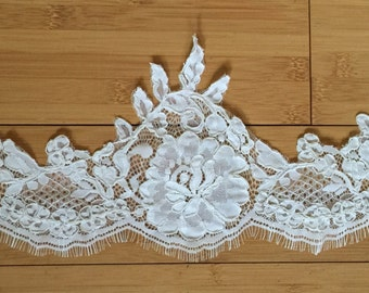 Alencon lace re-embroidered  with eyelashes in ivory color, wedding lace, bridal lace, veil lace