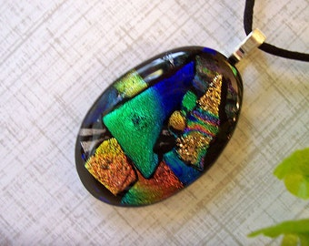 Dichroic Glass Pendant Necklace, Fused Glass Jewelry, Cornucopia of Color, 101-13