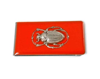Scarab Money Clip Inlaid in Hand Painted Enamel Orange Art Nouvea Inspired Custom COlors and Personalized Options