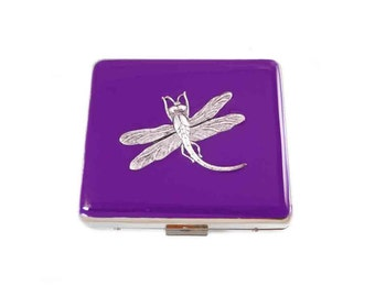 Dragonfly Large 8 day Pill Box Inlaid in Hand Painted Purple Opaque Enamel Art Nouveau Inspired Custom Colors and Personalized Options