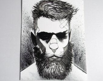 Inktober ink Illustration on paper  - Lion man