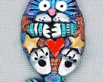 Hand Sculpted Cat Focal or Brooch by Critter CRaft
