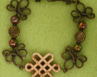 Burnished Gold Celtic Knot Beaded Bracelet Jewelry Handmade NEW Accessories 8 inches