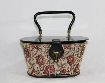 1950s Vintage Purse - Round Boxy Tapestry and Lucite Handbag