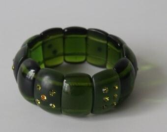 Vintage 1960s Avocado Green Lucite Domino Bracelt