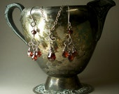 Reserved for William - Garnet Chandelier Sterling Silver Earrings Wire Wrapped AAA Red January Birthstone and Matching Necklace