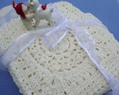Crochet Baby Blanket, White Baby Blanket, Crib Size Blanket, Merino Wool Blanket, New Baby Gift, Christening Gift, Victorian Lace Accent