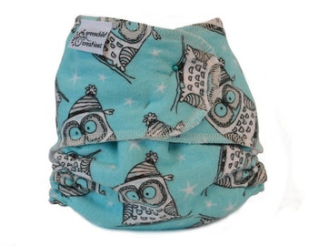 Cloth Diaper Fitted, One Size, Aqua Owls, Flannel - Add Snaps, Hook and Loop, or Pins