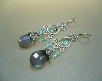 Labradorite Apatite Sterling Silver Chandelier Earrings