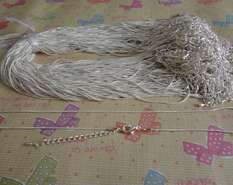 200pcs 1.2mm silver snake chain with extension chain