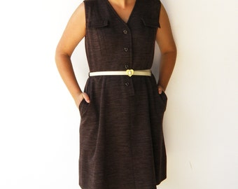 Vintage Chocolate Brown Dress / 1970s Shift Dress / Size L