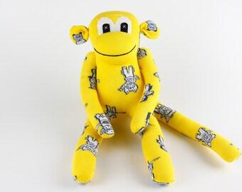 Christmas Gift Handmade Yellow Sock Monkey Stuffed Animal Doll Baby Toys