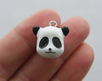 2 Panda bear charms resin A216