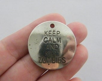 2 Keep calm and kill zombies pendants antique silver tone M12
