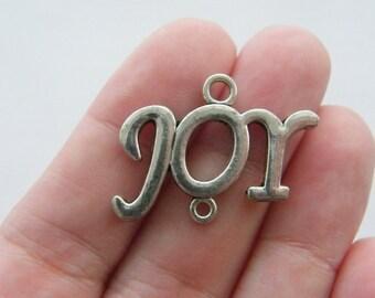2 Joy connector charms antique silver tone CT108