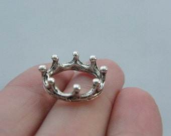 6 Crown charms antique silver tone CA1