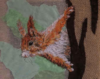 Red Squirrel original textile artwork