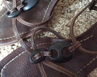 Prada Brown Leather Strappy Heels -Authentic-