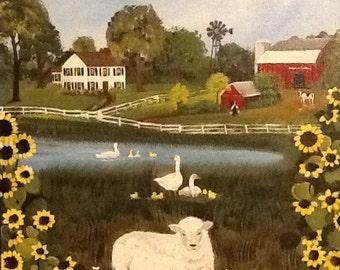 """Folk Art Painting """"Animal Farm"""" acrylic"""