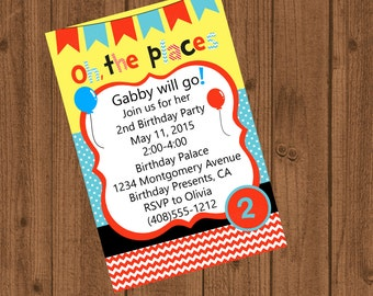Dr Seuss Oh the places you'll go Birthday Invitation Dr Seuss inspired 1st birthday 2nd birthday