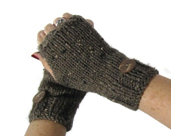 Knit Gloves Fingerless Gloves Knit Gloves, Fashion AccessoryTexting Gloves Hand Warmers, Brown Gloves,  Gift Ideas For Her, Women, Fiber Art