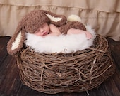Baby boy hat, baby girl hat, bunny, easter bunny, photo prop, crochet brown bunny set, baby shower gift, coming home outfit, first easter