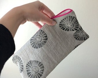 SALE. hand printed pouch. hand carved original block print textile. linen purse.