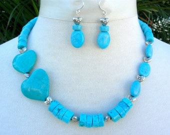Turquoise Heart & Beads, sterling silver heart beads, Valentine gift, necklace set by SandraDesigns