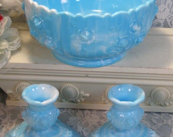 Vintage Fenton Glass Marble Blue Milk Glass Rose Console Bowl and Candle Holder Set, 1970's Art Glass, Mid Century Glass, Home Decor