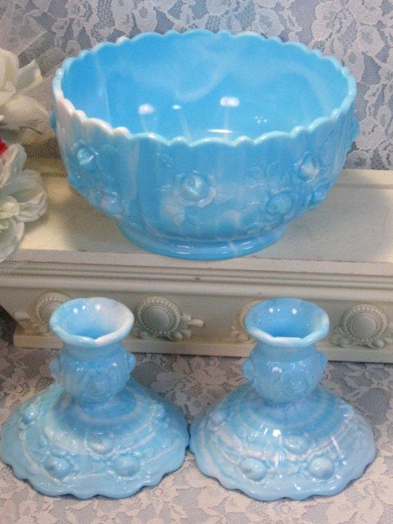 Vintage Fenton Glass Marble Blue Milk Glass Rose Console Bowl