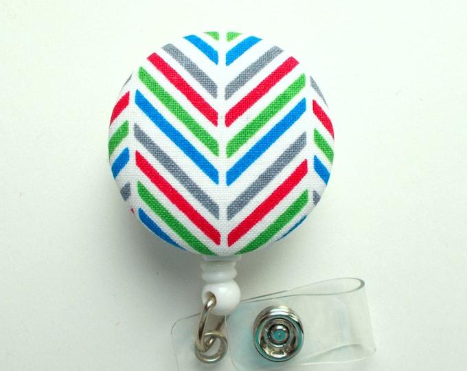 Chevron Mini Stripes Primary Colors - Nurse Badge Holder - Nursing Badge Reel - Retractable ID Badge Reel - Teacher Badge - Male Nurse ID