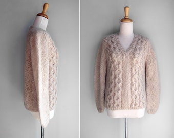 FINAL SALE Vintage 1950s Blush Cable Knit V Neck Sweater- Pink White Ivroy Gray Fuzzy Long - Size S or M