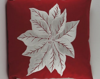 "Embroidered Decorative Pillow Cover - Poinsettia - 18"" x 18"" Red (READY TO SHIP)"