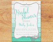 Beach Bridal Shower Invitation-Digital Custom Card-Ombre