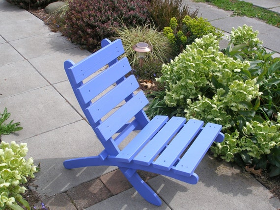 Periwinkle Blue Cedar Chair for Outdoor Relaxation - Storable! - handcrafted by Laughing Creek