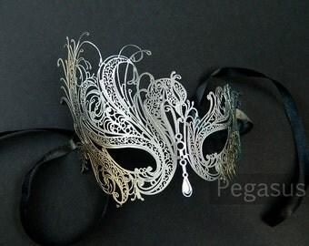 Silver and Gold Color Black Swan Mask design (1 Mask) Venetian Filigree Scroll work Metal Mask -  Laser Cut Mask