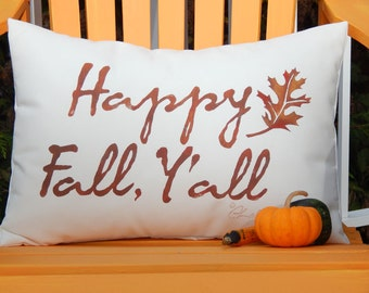 """HAPPY FALL, Y'ALL outdoor pillow 14""""x20"""" (35x50cm) welcome autumn porch lowcountry seasons greetings Crabby Chris Original"""