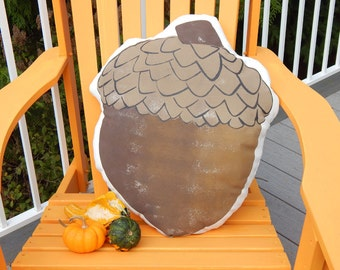 "Outdoor pillow acorn humongous 19""x22"" autumn fall seed nut oak seed squirrel harvest Thanksgiving Crabby Chris Original"