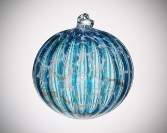 HAND BLOWN GLASS Christmas Ornament Suncatcher Ball Aqua Blue