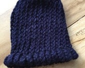 Navy blue organic cotton hand knit hat