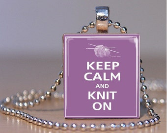 Purple Keep Calm and Knit On Scrabble Tile Pendant Charm FREE CHAIN!