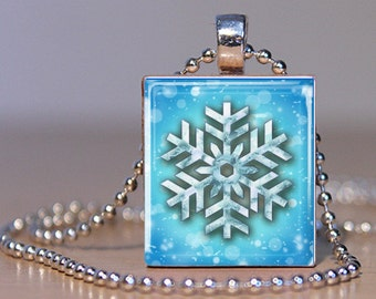 Aqua Blue Snowflake Scrabble Tile Pendant Charm Necklace FREE CHAIN!