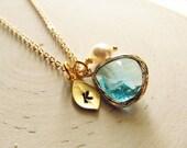 Birthstone Necklace, Custom Color, Gold Leaf Initial, Jewel, Pearl, Gold Birthstone Jewelry, Birthday Jewelry Gift, Personalized Birthstone