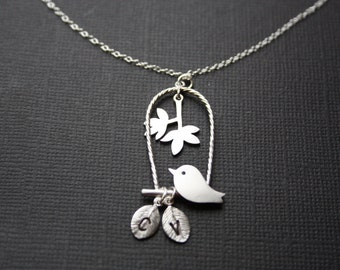 Mom's Necklace, Bird necklace with initial leaves - Silver, Cute, Mother's Day, Birthday gift for wife, for love, for mom, daughter, sister
